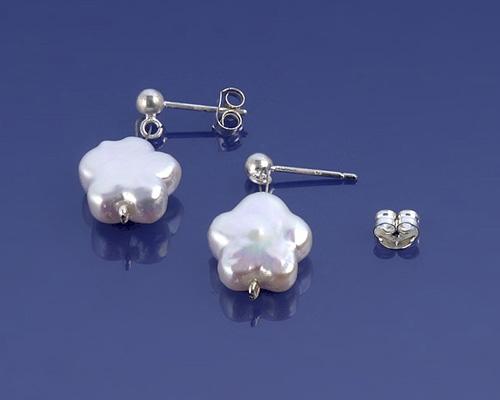 Pendientes de flores de Perlas AAA  y plata 925ml.