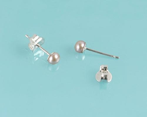 Pendientes de Perlas AAA Rosa 4mm. con Oro blanco