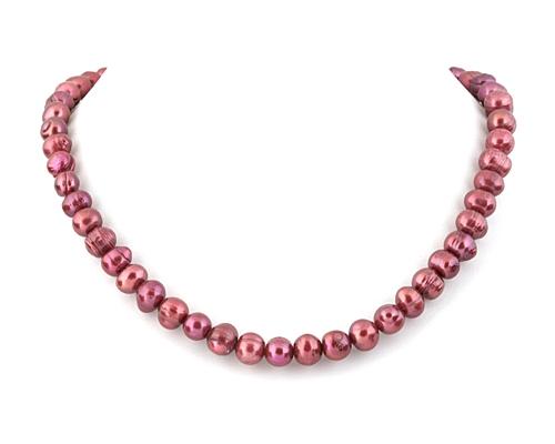 Collar de perlas semi esféricas fucsia
