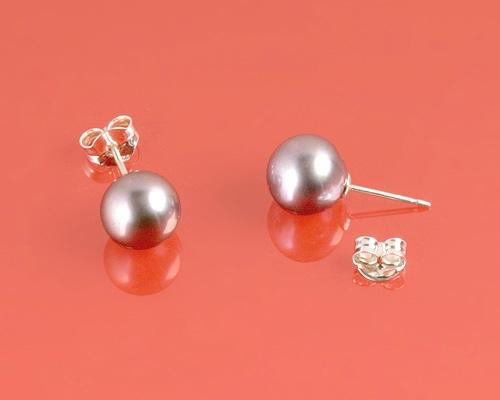Pendientes de Perla AAA esférica gris 9mm. Con Oro Blanco