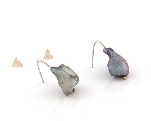 Pendientes de Perla cultivada gris y Plata