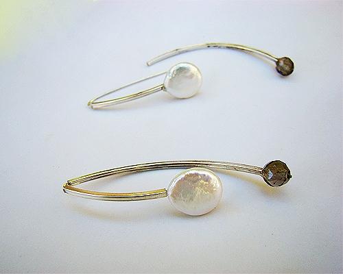 Pendientes de Perla blanca, Cuarzo ahumado y Plata