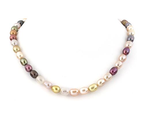 Collar de perlas ovales. Multicolor