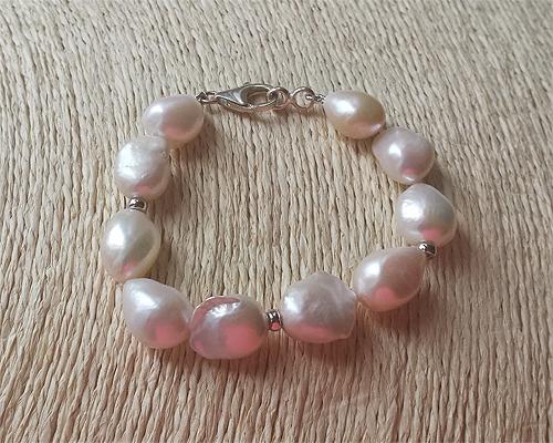 Pulsera Perlas cultivadas barrocas y plata
