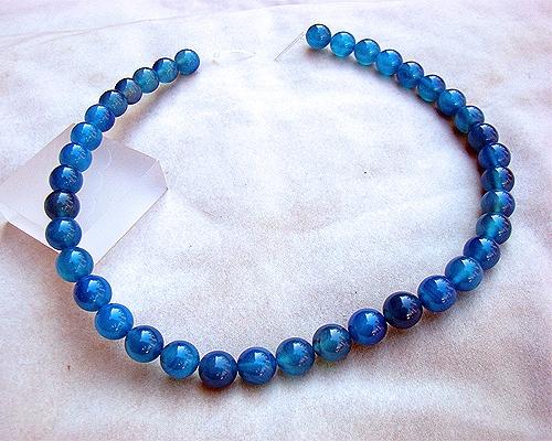 Cuarzo Azul bola 10mm. Tira (hilo) 40cm.