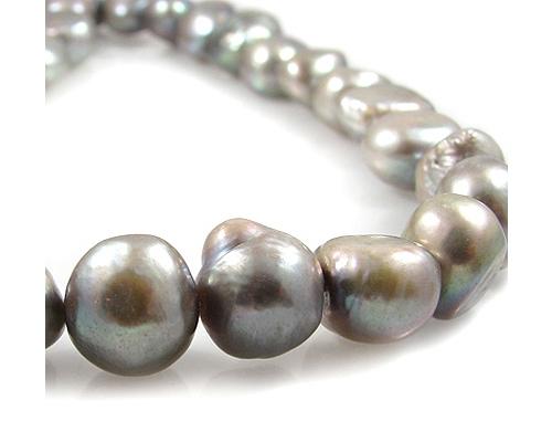 Collar de perlas patata gris Plata