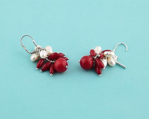 Pendientes de Coral, Perlas y Plata