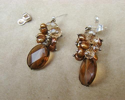 Pendientes de Cuarzo ahumado, Perlas, Cristal y Plata 925ml.