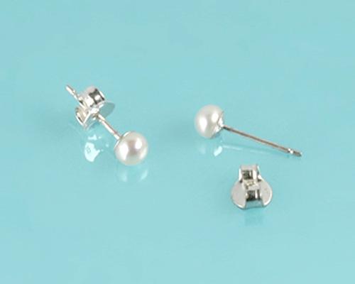 Pendientes en Perla AAA blanca 4mm. con plata 925ml.