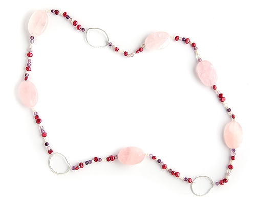Collar de Perlas, Fluorita, Cuarzo rosa de 3cm. y Plata de 925ml.