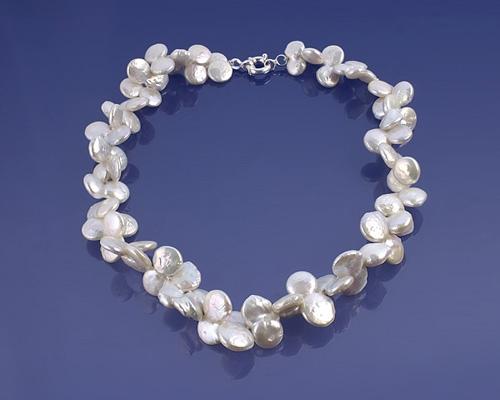 Collar de perla lenteja doble y Plata 925ml.