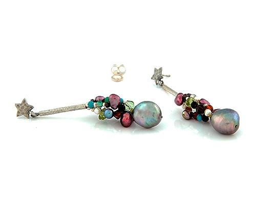 Pendientes de Perlas, Piedras diversas y Plata