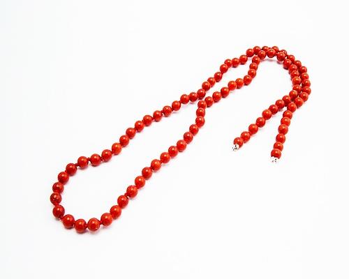 Collar de coral Bambú en bolita 4mm.