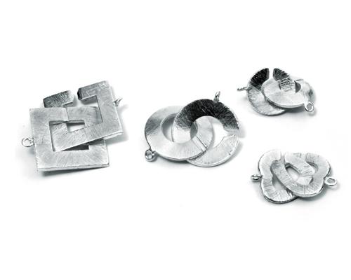 Cierre de plata con textura 20mm.