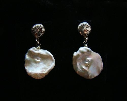 Pendientes de Perla keshi 18-25mm. y Plata