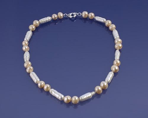 Collar Perla cultivada redonda y cilíndrica. Con Reasa marinera en plata 925ml.