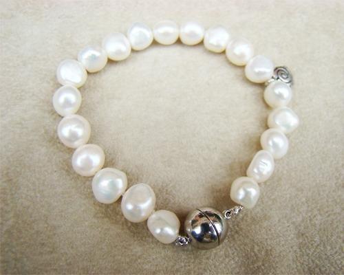 Pulsera de Perla cultivada 8-10mm. Blanca