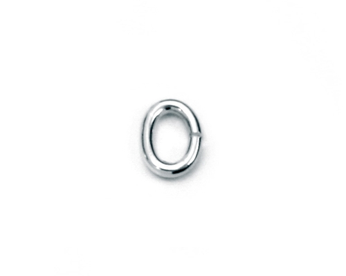 Anilla abierta oval en Oro blanco 6x4mm.