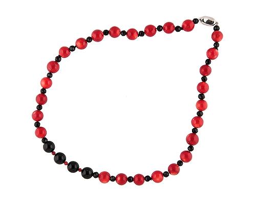 Collar de Coral Bambú, Agata negra  y Reasón en Plata de 925ml.