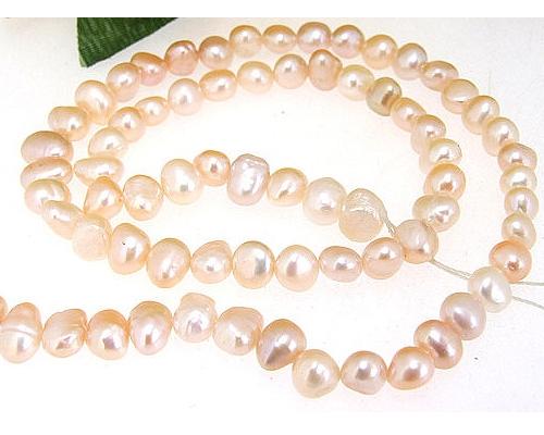 Collar de perlas patata rosas