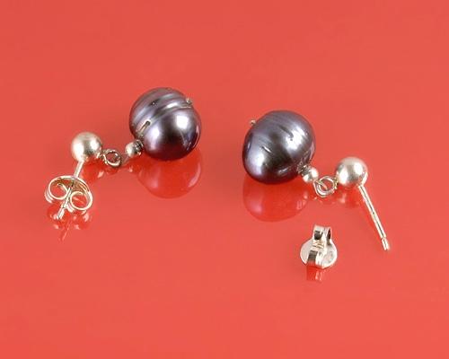Pendientes de Perla gris 10-12mm. Con plata 925ml.