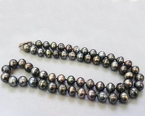 Collar largo de 58 perlas Tahití semibarroca-Redondeada gris