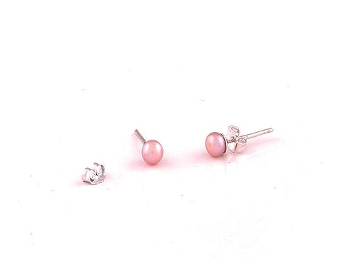 Pendientes de Perlas AAA rosa 4mm. y Plata 925ml.