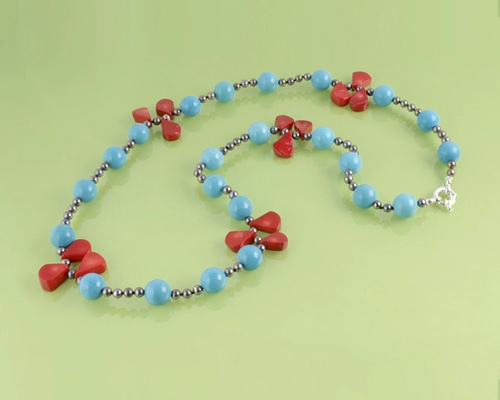 Collar de Turquesa, Perla, Coral y Plata