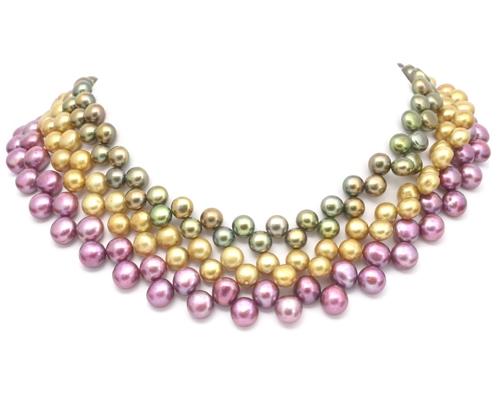 Collar de perlas zig-zag botón