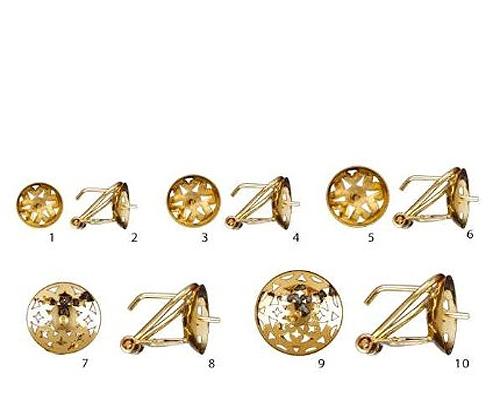 Casquillas con Omega desde 10mm. en Oro 750ml.