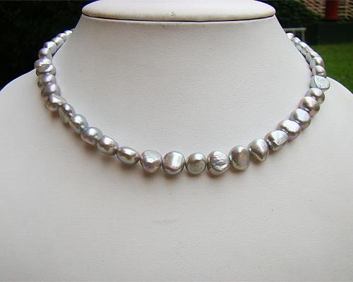 Collar de perla patata gris plata