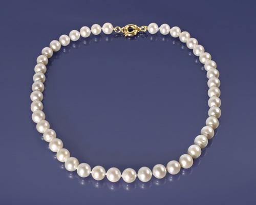 Collar de Perla esférica AAA. con reasón de Gold Filled 12mm.