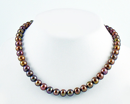 Collar de perlas semi esféricas color chocolate