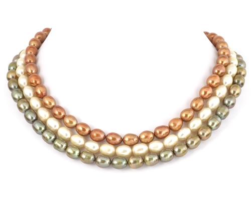 Collar de perlas ovales. Cobre o verde