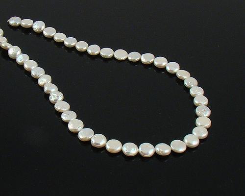 Collar de perla Coin blanca