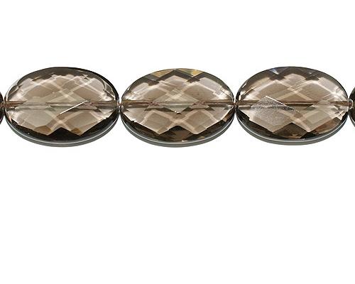 Collar de cuarzo ahumado facetado oval
