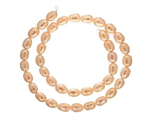 Collar de perlas ovales rosas