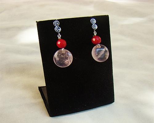 Pendientes de Cuarzo Rosa español, Coral y plata