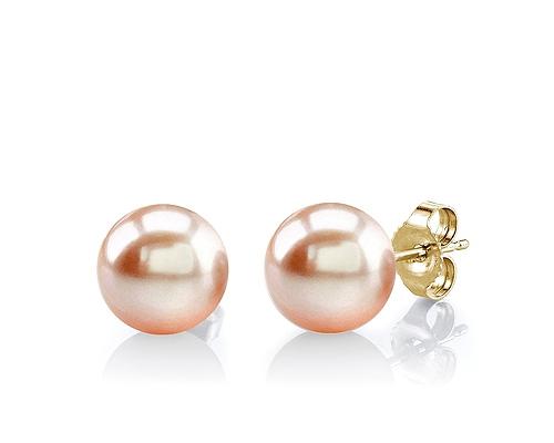 Pendientes de Perla AAA esférica rosa 7,5-8mm. Con Oro amarillo