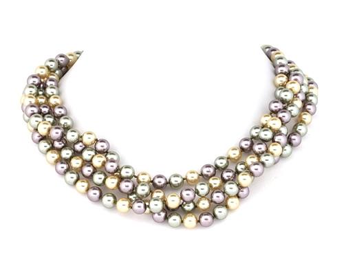 Collar de 2Mt. de Perla Shell con nudo entre cada bola de 8mm