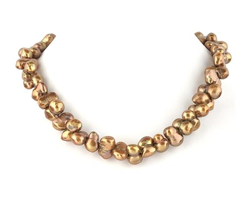 Collar de perla barrocas cobrizo