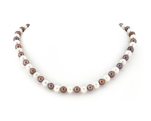 Collar de perlas esféricas Blancas y Grises