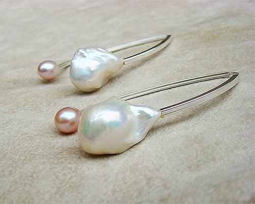 Pendientes de plata dobles. Con Perlas cultivadas Rosa y Blanca