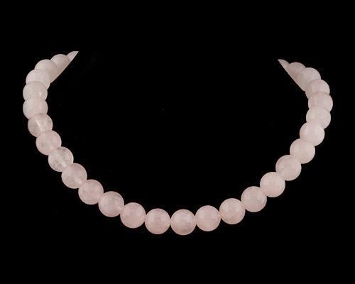 Collar de cuarzo rosa en bola 10mm.