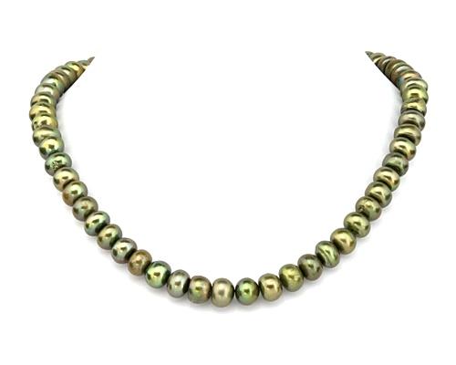 Collar de perlas Center verde
