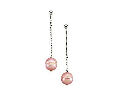 Pendientes de Perla AAA Ovalada rosa y plata 925ml.