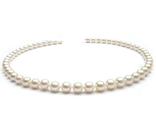Collar de perla esférica blanca