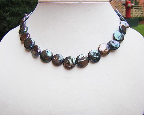 Collar de perlas Coin grises