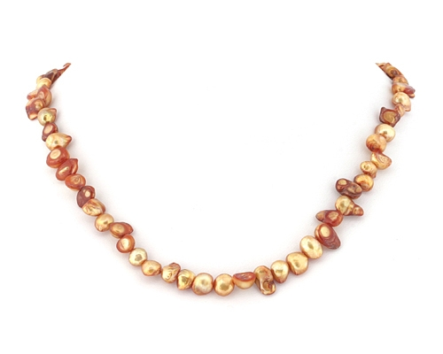 Perla blister marrón clarito. - Tira (hilo) de 40cm.