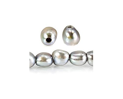 Perlas patata con perforación de 2mm. Gris Plata